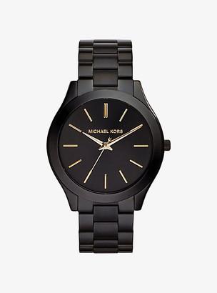 Michael Kors Slim Runway Black Stainless Steel Watch