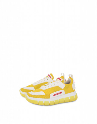 Love Moschino Mesh Sneakers Love Tassel Woman Yellow Size 36 It - (6 Us)