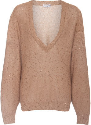 Brunello Cucinelli Oversized Sequined Linen-Blend Sweater