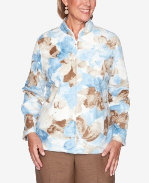 Alfred Dunner Women's Missy Dover Cliffs Watercolor Floral Polar Fleece Jacket