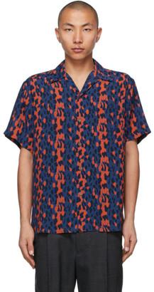 Wacko Maria Blue and Red Leopard Open Collar Short Sleeve Shirt