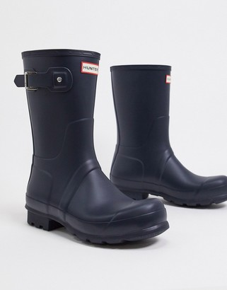 Hunter short wellington boots in blue