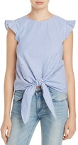 Aqua Stripe Tie-Front Ruffle Top - 100% Exclusive