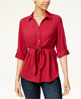 Amy Byer Juniors' Tie-Front Roll-Tab Blouse