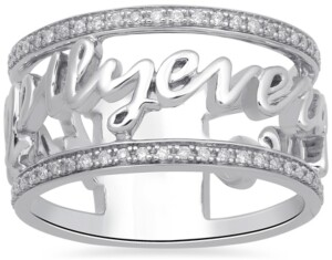 Enchanted Disney Fine Jewelry Diamond Happily Every After Princess Ring (1/5 ct. t.w.) in Sterling Silver