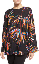 Emilio Pucci Marilyn Long-Sleeve Boat-Neck Top, Black/Multi
