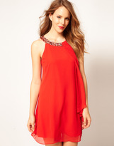 Coast Maddie Trapeze Dress with Embellished Neckline