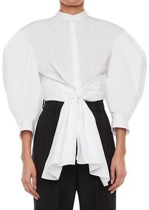 Alexander McQueen Bow Wrap Puff-Sleeve Poplin Shirt