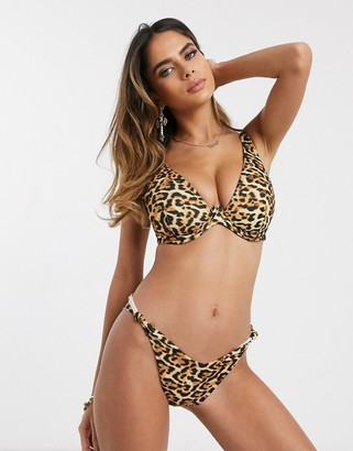 Asos Design DESIGN recycled fuller bust mix and match step front underwire bikini top in animal leopard print dd-g-Multi