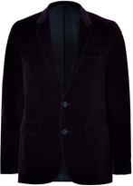 HUGO Cotton Velvet Aeris Blazer in Dark Red
