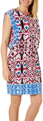London Times Women's Petite Short Sleeve Round Neck Jersey Blouson Dress