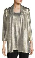 Caroline Rose Reflection Knit Metallic Easy Cardigan, Petite