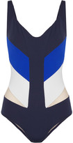 La Perla Color Power Tulle-paneled Swimsuit - Bright blue