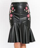Flying Tomato Black Floral Pencil Skirt