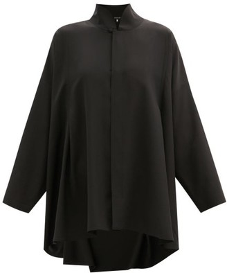 eskandar Stand-collar Silk-crepe De Chine Blouse - Black
