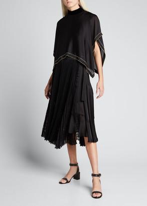 Sacai Embellished Satin Windowpane Pleated Dress