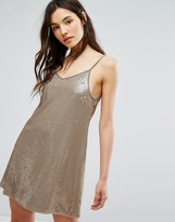Glamorous Cami Swing Dress In Sequin