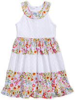 Sweet Heart Rose Floral-Print Lace & Eyelet Dress, Little Girls
