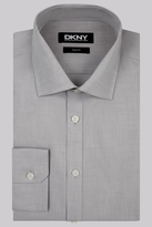 DKNY Slim Fit Grey Single Cuff Twill Semi Spread Collar Shirt