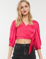 Monki puff sleeve crop wrap blouse in fuchsia pink