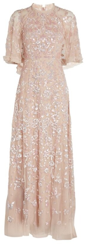 Needle & Thread Caped Sequin Ribbon Gown