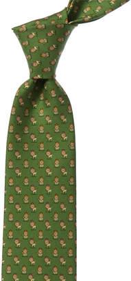 Salvatore Ferragamo Green Lions Silk Tie