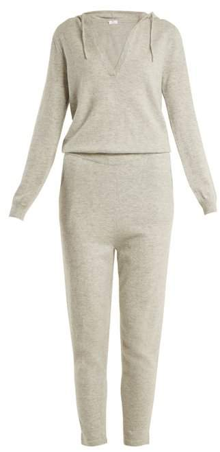 Allude Hooded V Neck Cashmere Jumpsuit - Womens - Light Grey