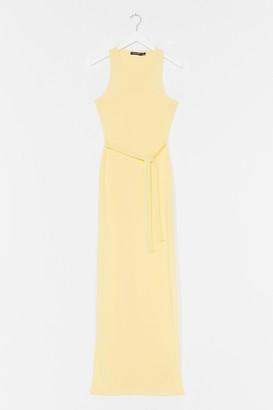 Nasty Gal Womens Slit 'Em Up Belted Maxi Dress - Lemon
