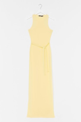 Nasty Gal Womens Slit 'Em Up Belted Maxi Dress - Yellow - 14