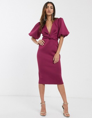 ASOS DESIGN bubble sleeve twist detail midi pencil dress in raspberry