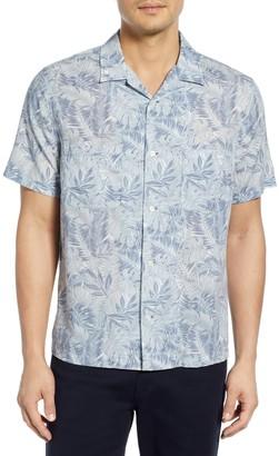 Vince California Print Cabana Slim Fit Short Sleeve Shirt