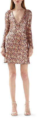 ML Monique Lhuillier Multi Colored Sequin V-Neck Long-Sleeve Dress