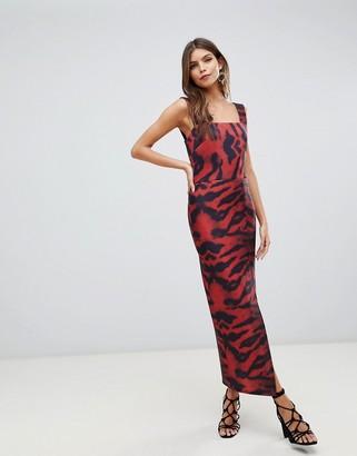 True Violet square neck midaxi bodycon dress in tiger print-Multi