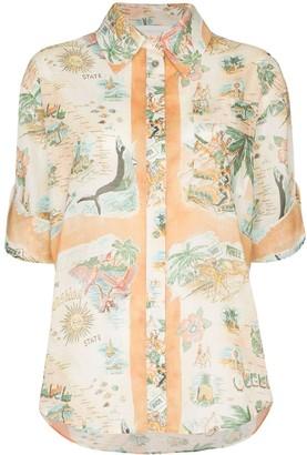 Zimmermann Map-Print Cotton Shirt