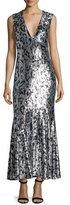 Roberto Cavalli Sleeveless Jaguar-Embellished Gown, Black/Silver