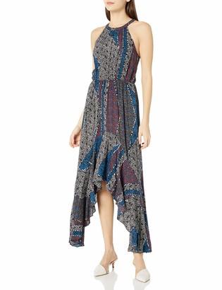 BCBGeneration Women's Halter Hankerchief Dress Blue/Multi Small