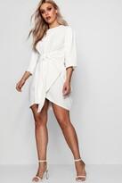 boohoo Plus Ellie Kimono Sleeve Tie Waist Wrap Dress