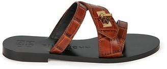 Givenchy Eden Croc-Embossed Leather Slides