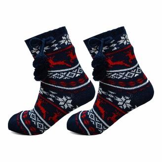 Xelay Womens Thermal Slipper Socks Heated Warm Holding Winter Fleeced Sherpa Lined Lounge Gripper Bed Socks UK 4-8 (1 Pair