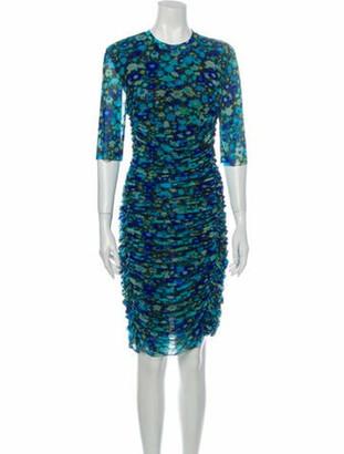 Ganni Printed Knee-Length Dress w/ Tags Blue