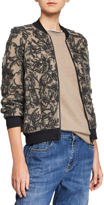 Brunello Cucinelli Collarless Zip-Front Sequined Jacket