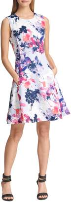 DKNY Fit--Flare Floral Dress
