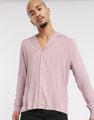 Asos Design DESIGN relaxed viscose shirt with low revere collar in dusty pink