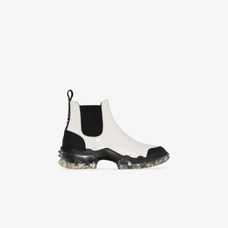 Moncler white Hanya flat leather Chelsea boots