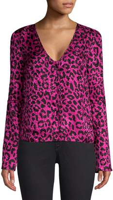 Milly Leopard Print Silk Jacquard Blouse