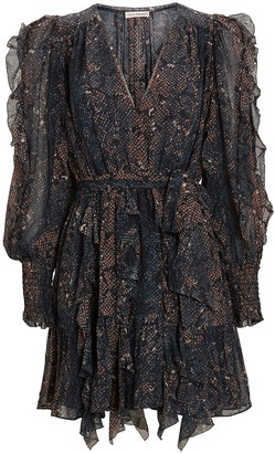 Ulla Johnson Natalia Python Silk Georgette Dress