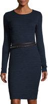 Three Dots Jennifer Long-Sleeve Belted Sweaterdress, Iris