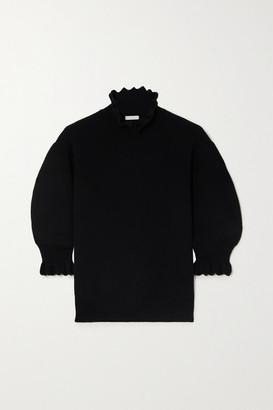 Chloé Scalloped Wool-blend Sweater - Black
