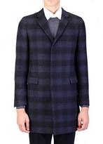 Prada Men's Virgin Wool Plaid Coat Jacket Black Navy Blue.