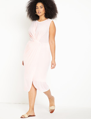 ELOQUII Draped Front Midi Dress